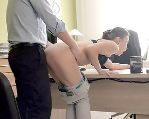 Topless girls in office