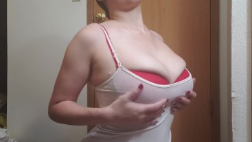 Girl plays with boobs in push up bra porn