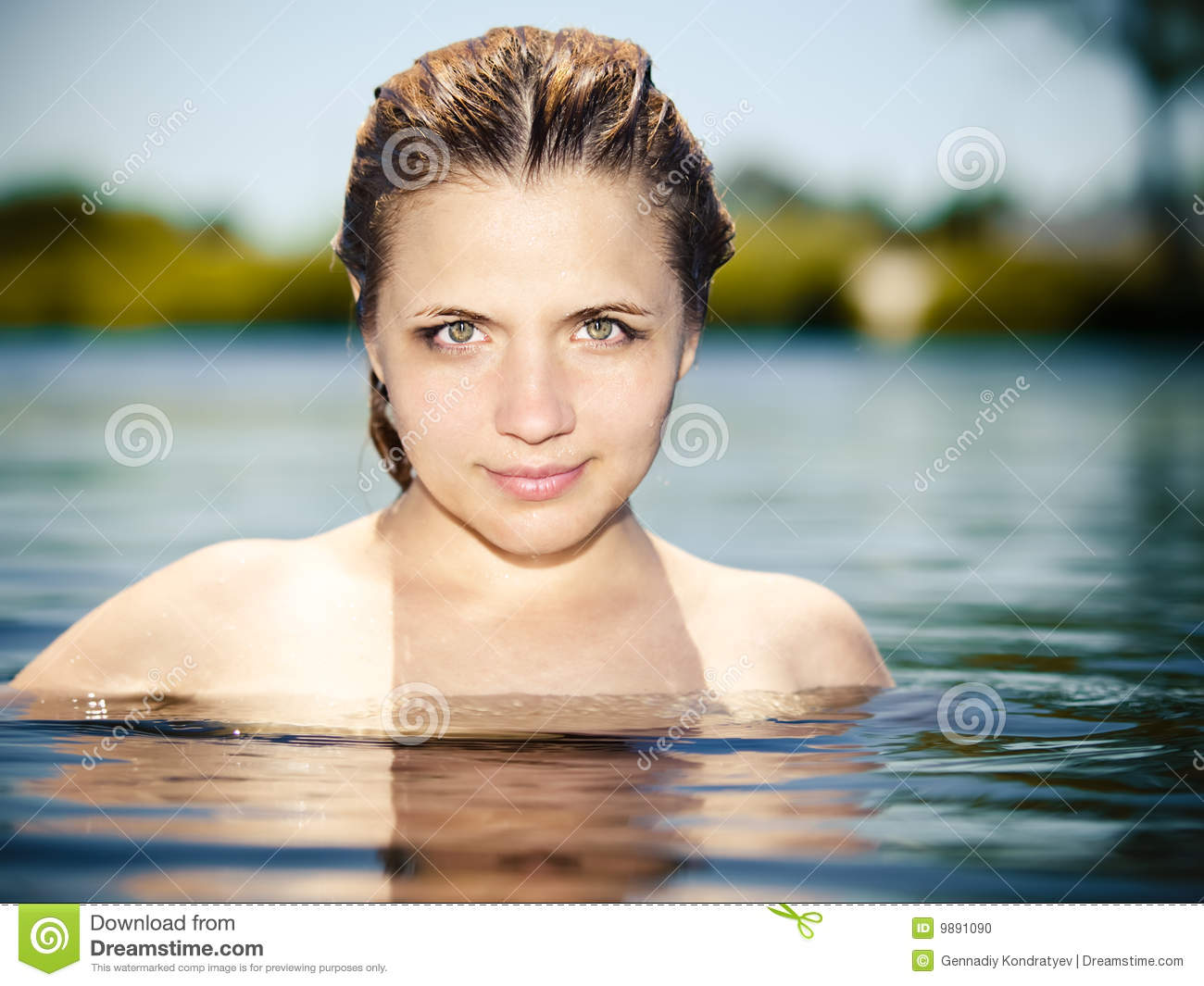 Young girls naked on water